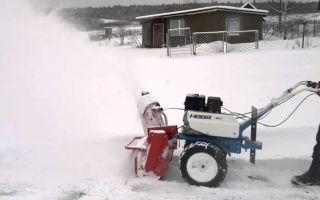 Снегоуборщик для мотоблоков Нева. Уборка снега, обзор работы