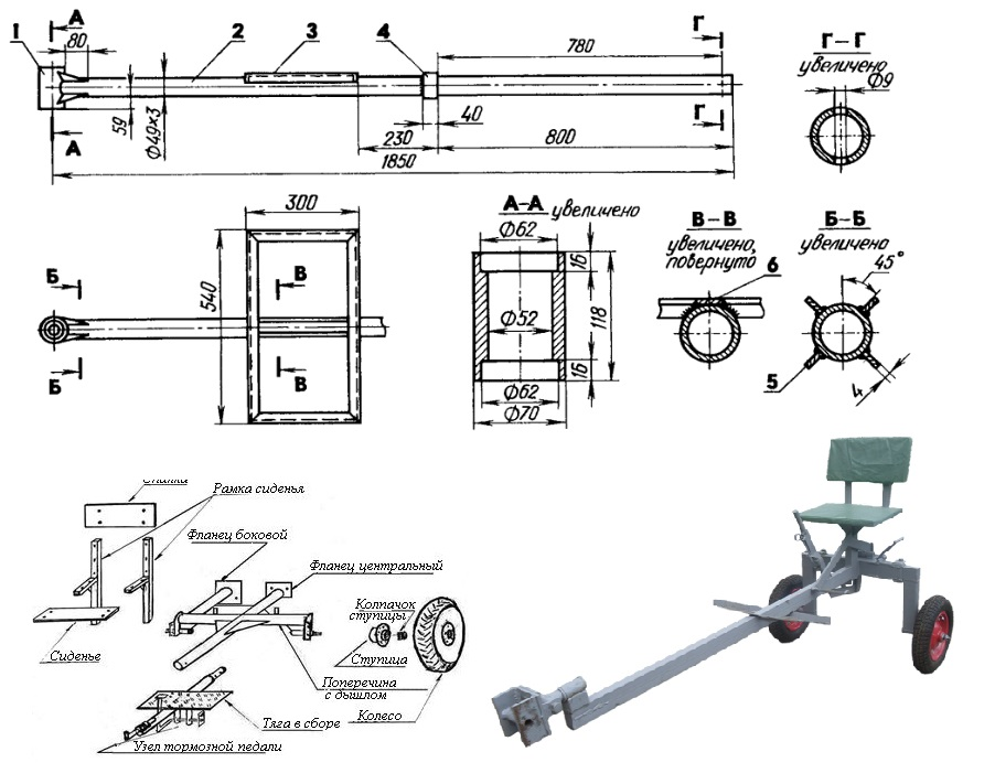 Схема самодельного адаптера к мотоблоку МТЗ