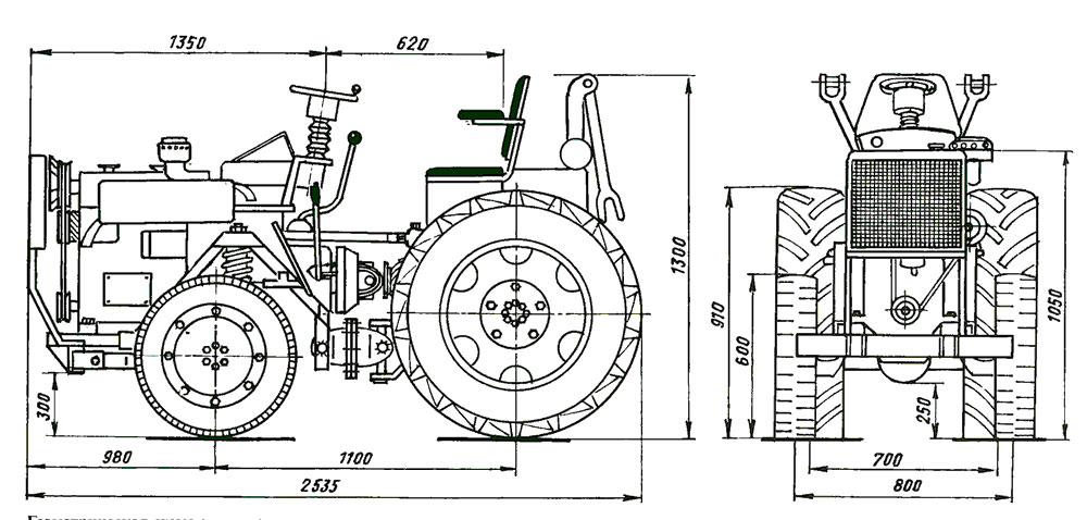 Конструкция самодельного минитрактора