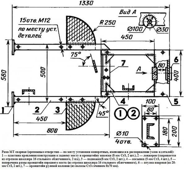 Схема рамы на мотоблок МТЗ