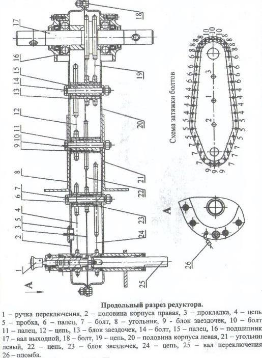 Cхема редуктора мотоблока в разрезе