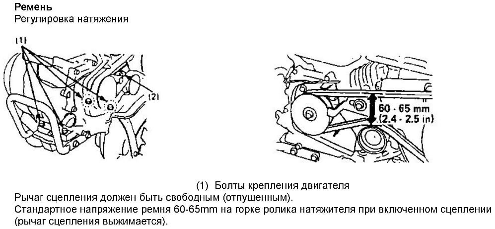 Схема регулировки натяжения ремня