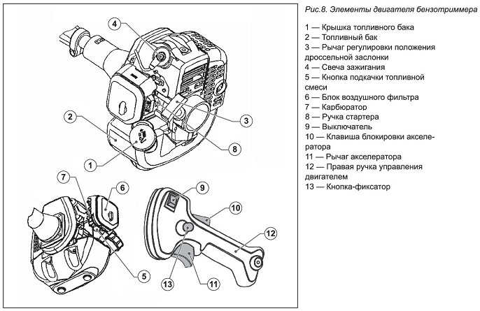 Схема элементов двигателя триммера