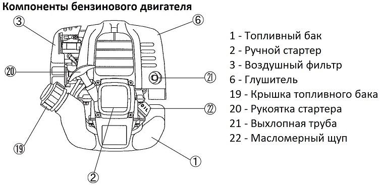 Компоненты бензинового двигателя триммера