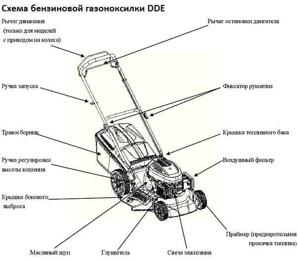 Схема бензиновой газонокосилки DDE