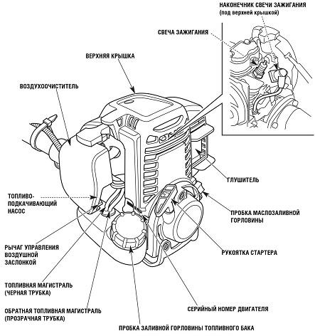 Устройство бензинового двигателя триммера