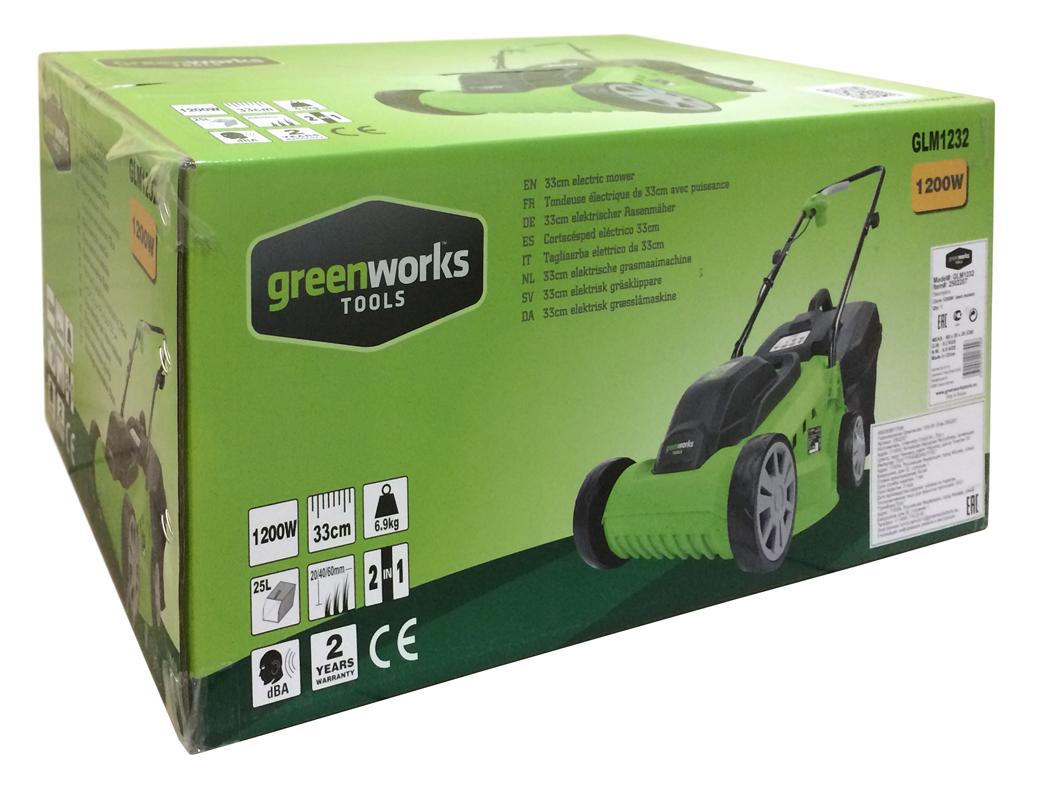 Электрическая газонокосилка Greenworks GLM1232