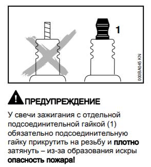 Свеча зажигания с гайкой для бензопилы