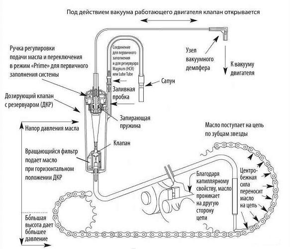 Устройство системы автоматической смазки цепи